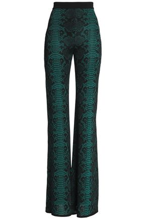 BALMAIN Snake-effect knitted flared pants