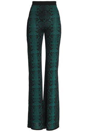 BALMAIN Snake-effect knitted flared pants