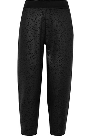 NIKE Cropped embossed stretch-neoprene track pants