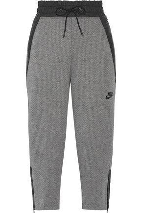 NIKE Shell-trimmed Tech Fleece cotton-blend track pants