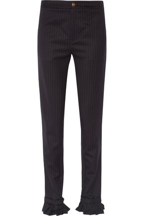 MAGGIE MARILYN Don't Frill With Me ruffle-trimmed pinstriped wool skinny pants
