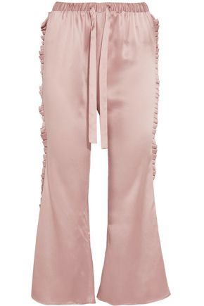 MAGGIE MARILYN The Good Knight pleated silk-satin flared pants