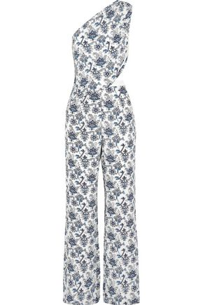 TAMARA MELLON One-shoulder printed silk-crepe jumpsuit