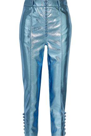 HILLIER BARTLEY Glam metallic faux textured-leather straight-leg pants