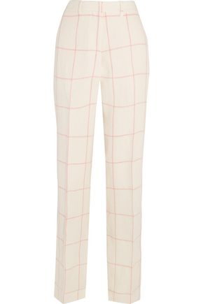 HILLIER BARTLEY Checked linen wide-leg pants