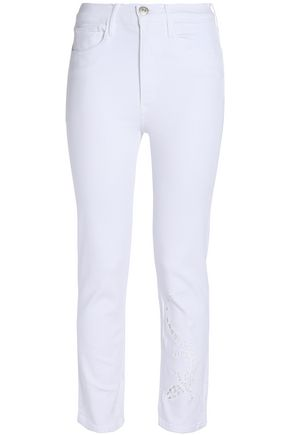 3x1 Cropped cutout embroidered high-rise slim-leg jeans