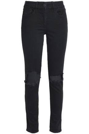3x1 Cropped distressed mid-rise skinny jeans