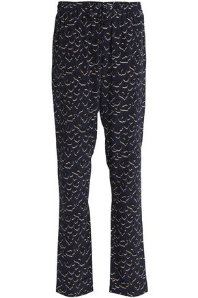 MARKUS LUPFER Printed silk-crepe straight-leg pants