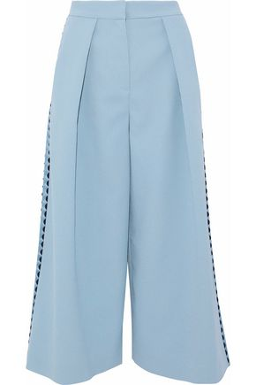 ROKSANDA Satin-trimmed pleated crepe culottes