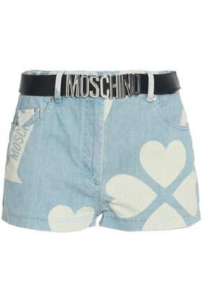 MOSCHINO Belted printed denim shorts