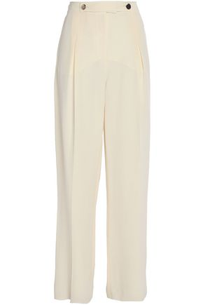 VALENTINO Pleated silk wide-leg pants