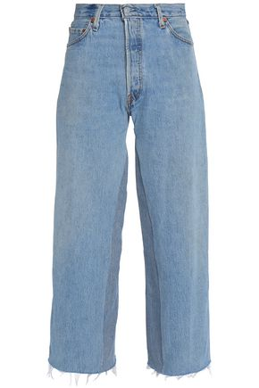RE/DONE by LEVI'S Frayed mid-rise wide-leg jeans