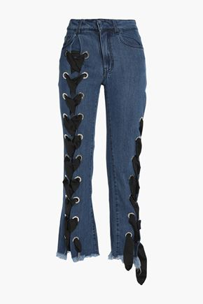 MARQUES ' ALMEIDA Lace-up frayed mid-rise flared jeans