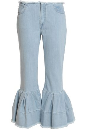MARQUES ' ALMEIDA Cropped pleated mid-rise flared jeans