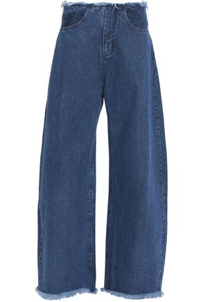 MARQUES ' ALMEIDA Frayed low-rise wide-leg jeans