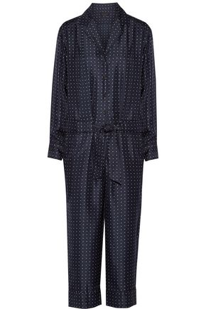 RAG & BONE Cropped printed silk-twill jumpsuit
