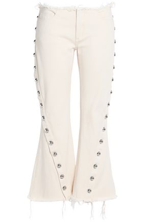 MARQUES ' ALMEIDA Button-embellished frayed mid-rise flared jeans
