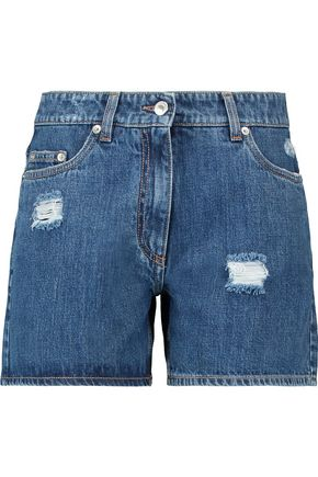 MOSCHINO Distressed denim shorts