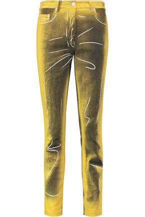MOSCHINO Metallic mid-rise slim-leg jeans