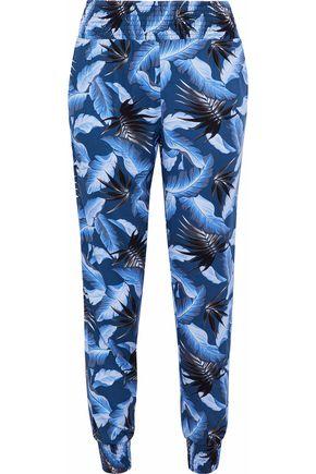MIKOH Printed crepe de chine track pants