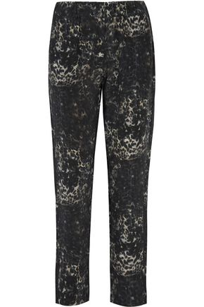 MIKOH Leopard-print silk-crepe tapered pants