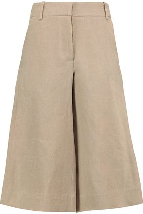 MARNI Cotton and linen-blend chambray culottes