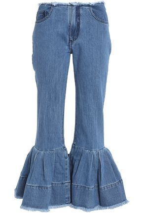 MARQUES ' ALMEIDA Frayed pleated low-rise flared jeans