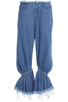 MARQUES ' ALMEIDA Frayed gathered low-rise flared jeans