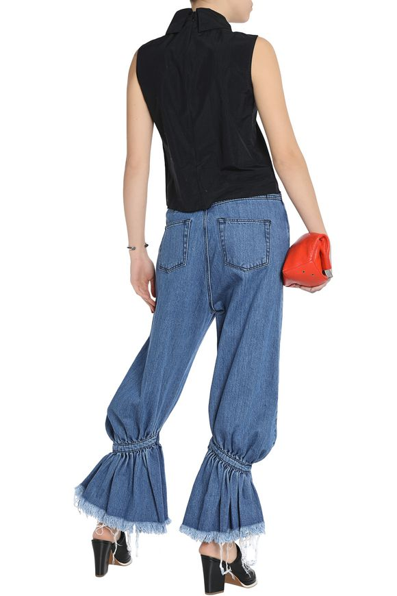 Frayed gathered low-rise flared jeans | MARQUES ' ALMEIDA | Sale up to 70%  off | THE OUTNET