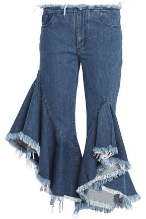 MARQUES ' ALMEIDA Cropped ruffled mid-rise flared jeans