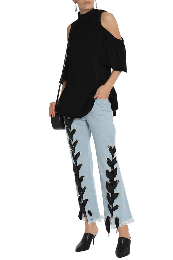 Lace-up frayed mid-rise flared jeans | MARQUES ' ALMEIDA | Sale up to 70%  off | THE OUTNET
