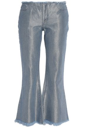 MARQUES ' ALMEIDA Metallic frayed mid-rise flared jeans