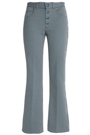 SONIA RYKIEL Pinstriped cotton-blend twill bootcut jeans