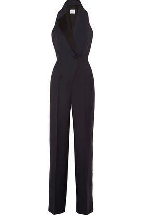PALLAS Cutout satin-trimmed crepe jumpsuit