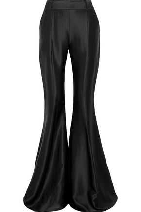 BEAUFILLE Navi satin-jacquard flared pants