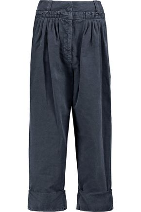 J.W.ANDERSON Cropped pleated cotton-poplin straight-leg pants