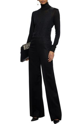 MAX MARA Faux leather-trimmed paneled camel-hair jumpsuit