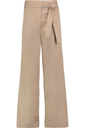 ROBERT RODRIGUEZ Belted cotton-blend twill wide-leg pants