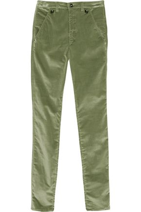 ISABEL MARANT Norton cotton-blend velvet slim-leg pants