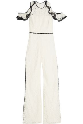 ALEXIS Philippe cold-shoulder ruffled corded lace jumpsuit