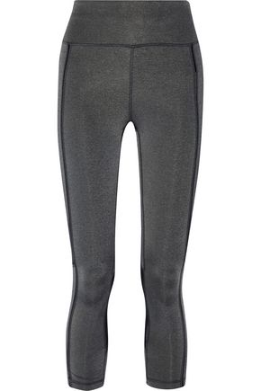 PURITY ACTIVE Cropped mesh-paneled mélange stretch leggings
