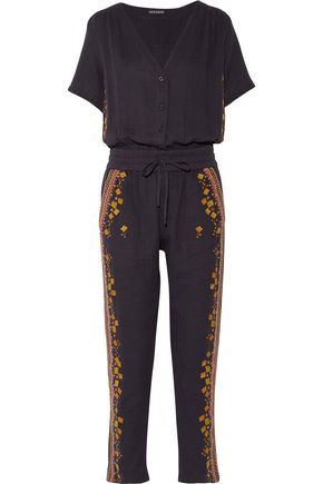 ANTIK BATIK Sharlen sequin-embellished embroidered cotton-gauze jumpsuit