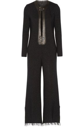 CALVIN KLEIN COLLECTION Elali metallic leather-trimmed wool-blend jumpsuit