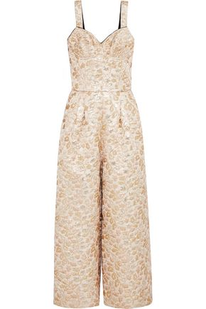 DOLCE & GABBANA Metallic embroidered faille jumpsuit