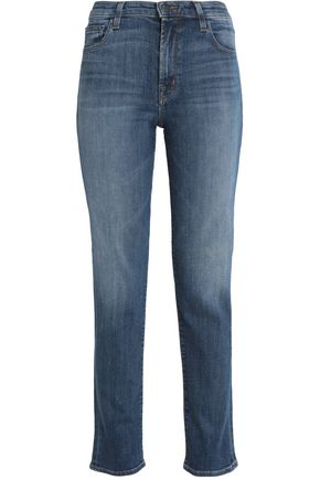 J BRAND Faded mid-rise straight-leg jeans