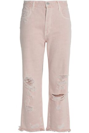 J BRAND Distressed high-rise straight-leg jeans