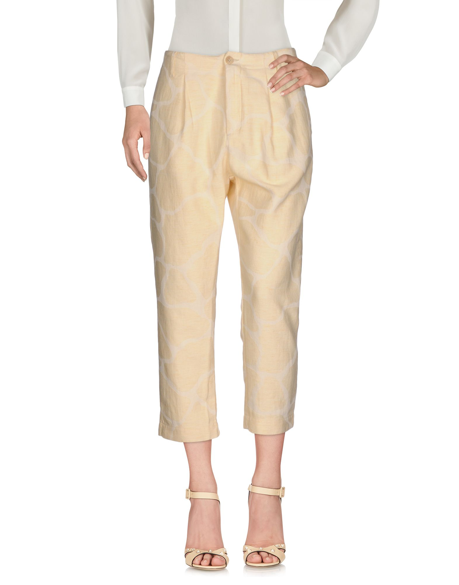 NOVEMB3R Cropped Pants & Culottes in Beige