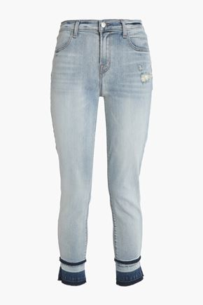 J BRAND Two-tone faded high-rise skinny jeans