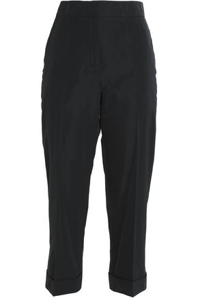 JIL SANDER Cropped crepe straight-leg pants