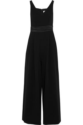 CINQ À SEPT Vina off-the-shoulder silk satin-trimmed crepe jumpsuit